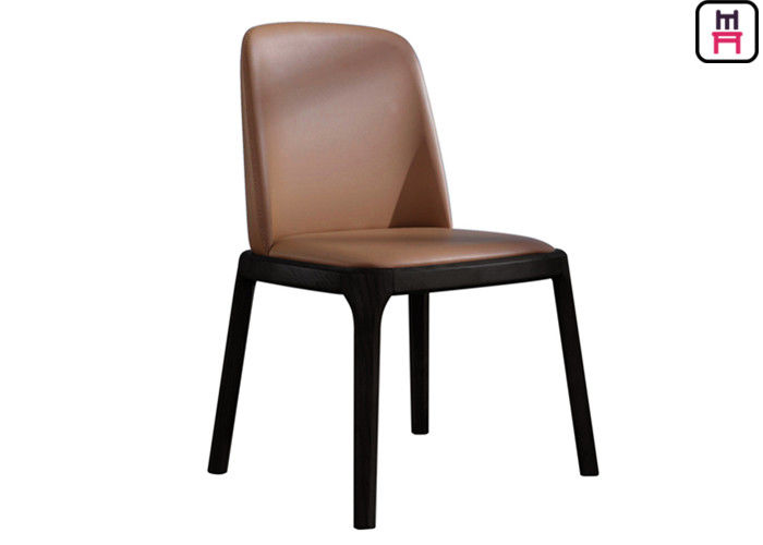 Armless Wood Black Leather Kitchen Chairs , Elegant Light Wood Dining Room Chairs
