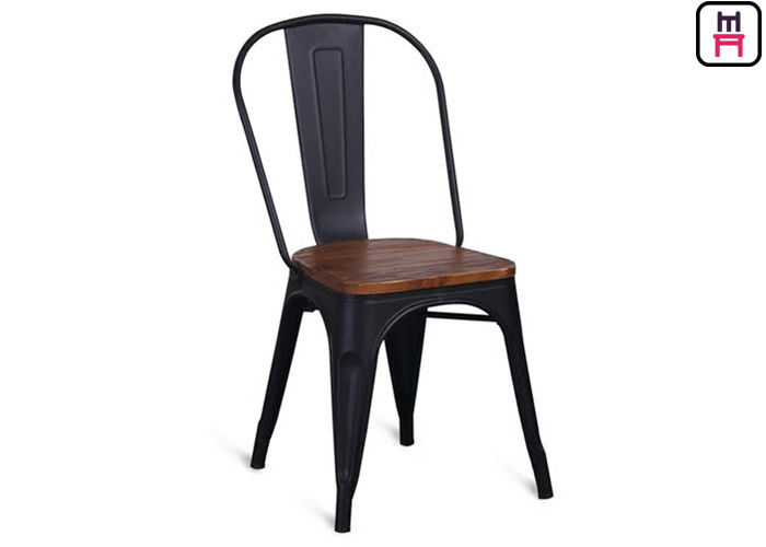 86cm Height Black Metal Restaurant Chairs Tolix Bar Stool With Wooden Seat
