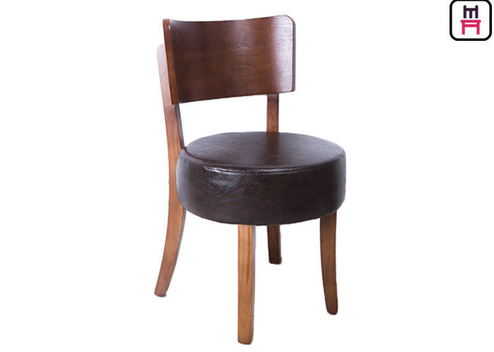 Round Leather Padded Armless Dining Chair , Dark Wood Dining Room Chairs