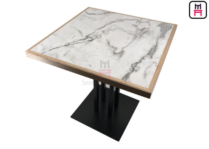 4 Person Buffet Laminate Dining Table White Marble Pattern HPL with Pine Wood Edge