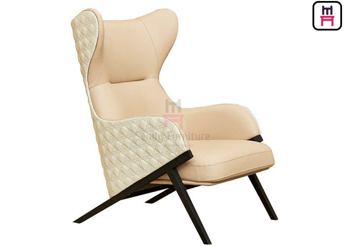Luxury Leather Single Sofa Chair Custom Color High - Back For Hotel Lobby & Hall