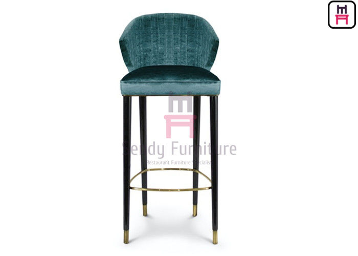 Luxury Style Restaurant Supply Bar Stools Green Velvet Ash Wood With Feet