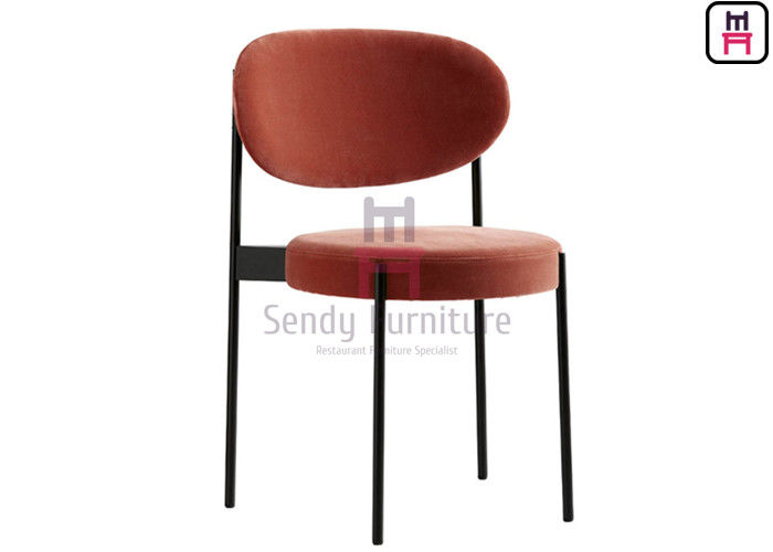 Red Black Painted Metal Dining Room Chairs / Upholstered Dining Chair Without Arm