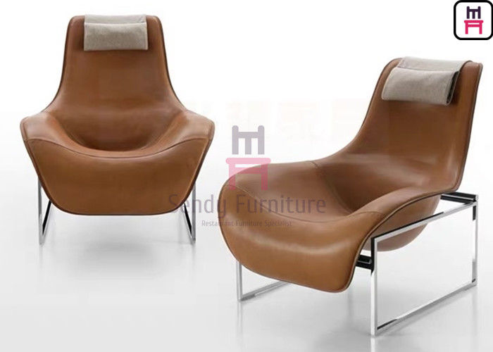 Frame Leather Lounge Fiberglass Dining Chair Revolving Disk Shaped Stainless Steel Base