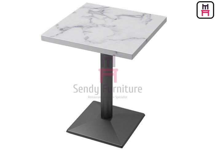 Formica Marble Pattern HPL Hotel Dining Table with Black Color Heavy Casting Iron Base