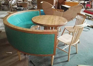 Solid Wood Tiffany Leather 1/2 Round Commercial Booth Seating Plain / Lines Back