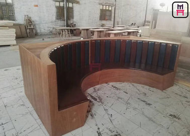 1/2 Round Shape Fast Food Use Commercial Booth Seating With Flower Planter Wood Round Cust