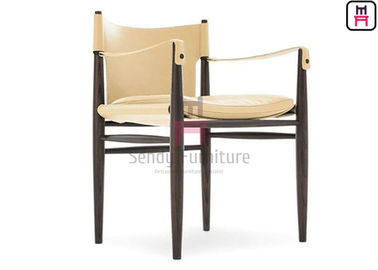 Ash Wood Frame Restaurant Dining Room Chairs Armrest Modern For Hotel Lobby